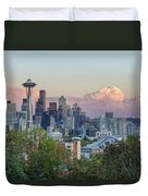 Seattle Washington City Skyline At Sunset Duvet Cover