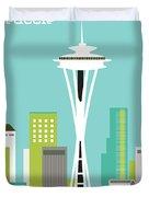 Seattle Washington Vertical Skyline - Teal Duvet Cover