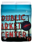 Seattle's Public Market Center At Sunset Duvet Cover
