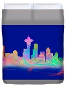 Seatttle Skyline Rainbow Watercolor Duvet Cover