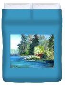 Secluded Boathouse-millsite Lake  Duvet Cover by Jan Byington