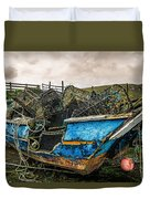 An Old Boat Turned In A Fyke Storage Place. Second Life.i Found This Near The Sea In Uig, Scotland. Duvet Cover