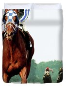 Secretariat Winning The Belmont Stakes, Jockey Ron Turcotte Looking Back, 1973 Duvet Cover