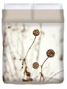 Seed Heads In The Snow Duvet Cover