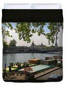 Seine Barges In Paris In Spring Duvet Cover