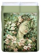 Self Portrait With Aplle Flowers Duvet Cover