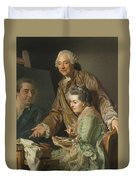 Self-portrait With His Wife Marie-suzanne Giroust Duvet Cover