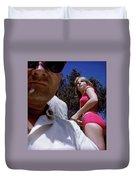 Selfie With Pink Bikini Girl Duvet Cover