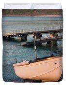 Sennen Cove Boat At Sunset Duvet Cover