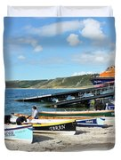 Sennen Cove Lifeboat And Pilot Gigs Duvet Cover