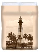Sepia Light House  Duvet Cover
