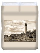 Sepia Lighthouse Duvet Cover