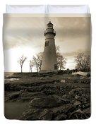 Sepia Marblehead Lighthouse Duvet Cover