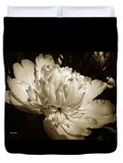 Sepia Peony Flower Art Duvet Cover