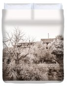 Sepia-toned Blooming Almond Trees Of Fikardou Village 1 Duvet Cover