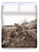 Sepia-toned Blooming Almond Trees Of Fikardou Village 2 Duvet Cover