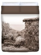 Sepia-toned Fikardou Village Scene 1 Duvet Cover