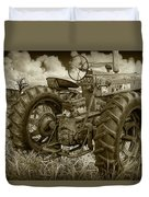 Sepia Toned Old Farmall Tractor In A Grassy Field Duvet Cover