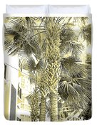 Sepia Toned Pen And Ink Palm Trees Duvet Cover