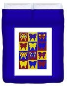 Serendipity Butterflies Brickgoldblue 1 Duvet Cover