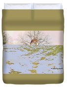 Serenity In The Spring Snow Duvet Cover