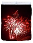 Series Of Red And White Fireworks Duvet Cover