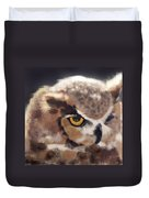 Serious Horned Owl Duvet Cover