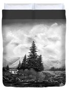 Serpentine Creek In Black And White Duvet Cover