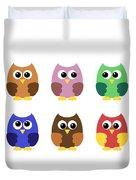 Set Of Six Little Owlets Duvet Cover