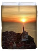 Setting Sun On The Adriatic Sea Behind Archangel Michael On Top  Duvet Cover