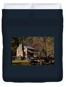 Settlers Cabin Cades Cove Duvet Cover