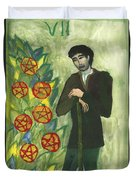 Seven Of Pentacles Illustrated Duvet Cover