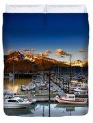 Seward Alaska Boat Marina Duvet Cover