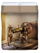 Sewing - A Black And White Sewing Machine  Duvet Cover