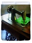 Sewing Machine With Green Cloth Duvet Cover