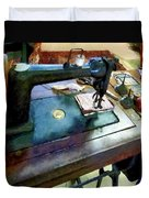 Sewing Machine With Sissors Duvet Cover