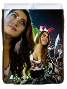 Sexy Bunny Models At A Motorycle Rally In Bangkok Thailand Duvet Cover