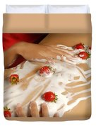 Sexy Nude Woman Body Covered With Cream And Strawberries Duvet Cover