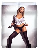 Sexy Woman In Wet Je Suis Charlie Shirt And Stockings Charlie Riina Duvet Cover