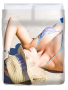 Sexy Woman On Sand Duvet Cover