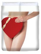 Sexy Young Woman With A Valentine Gift Duvet Cover