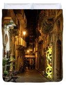 Shabby Chic - Small Street Night Walk In Syracuse Sicily Duvet Cover