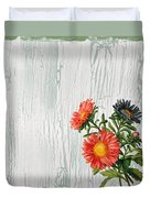 Shabby Chic Wildflowers On Wood Duvet Cover