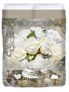 Shabby White Roses With Gold Glitter Duvet Cover