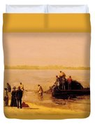 Shad Fishing At Gloucester On The Delaware River 1881 Duvet Cover