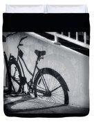 Shadow Of A Bike At Carolina Beach Duvet Cover
