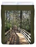 Shadows On A Boardwalk Through The Swamp Duvet Cover