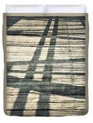 Shadows On A Wooden Board Bridge Duvet Cover