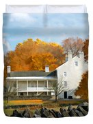 Shaker House And Stone Fence Duvet Cover