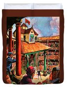 Shakespeare Performing At The Globe Theater Duvet Cover
